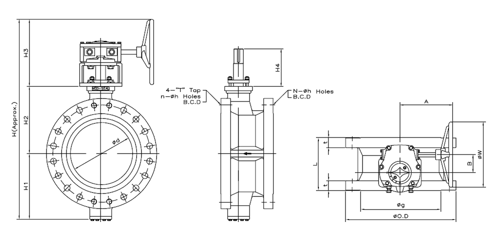 Dimensions of Double Flanged Class 300 Flanged Butterfly