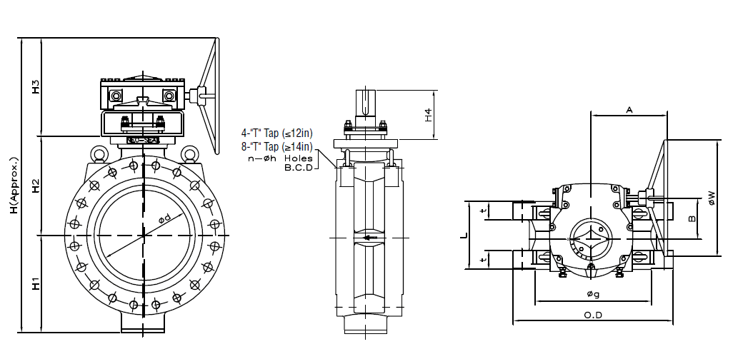 Dimensions of Double Flanged Class 600 Flanged Butterfly