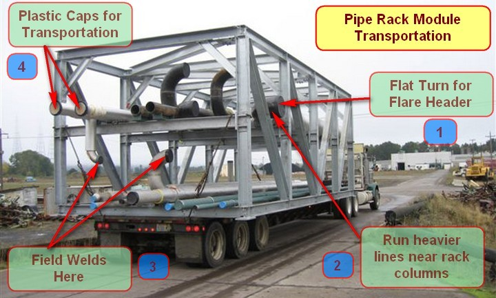 pipe rack module transportation the
