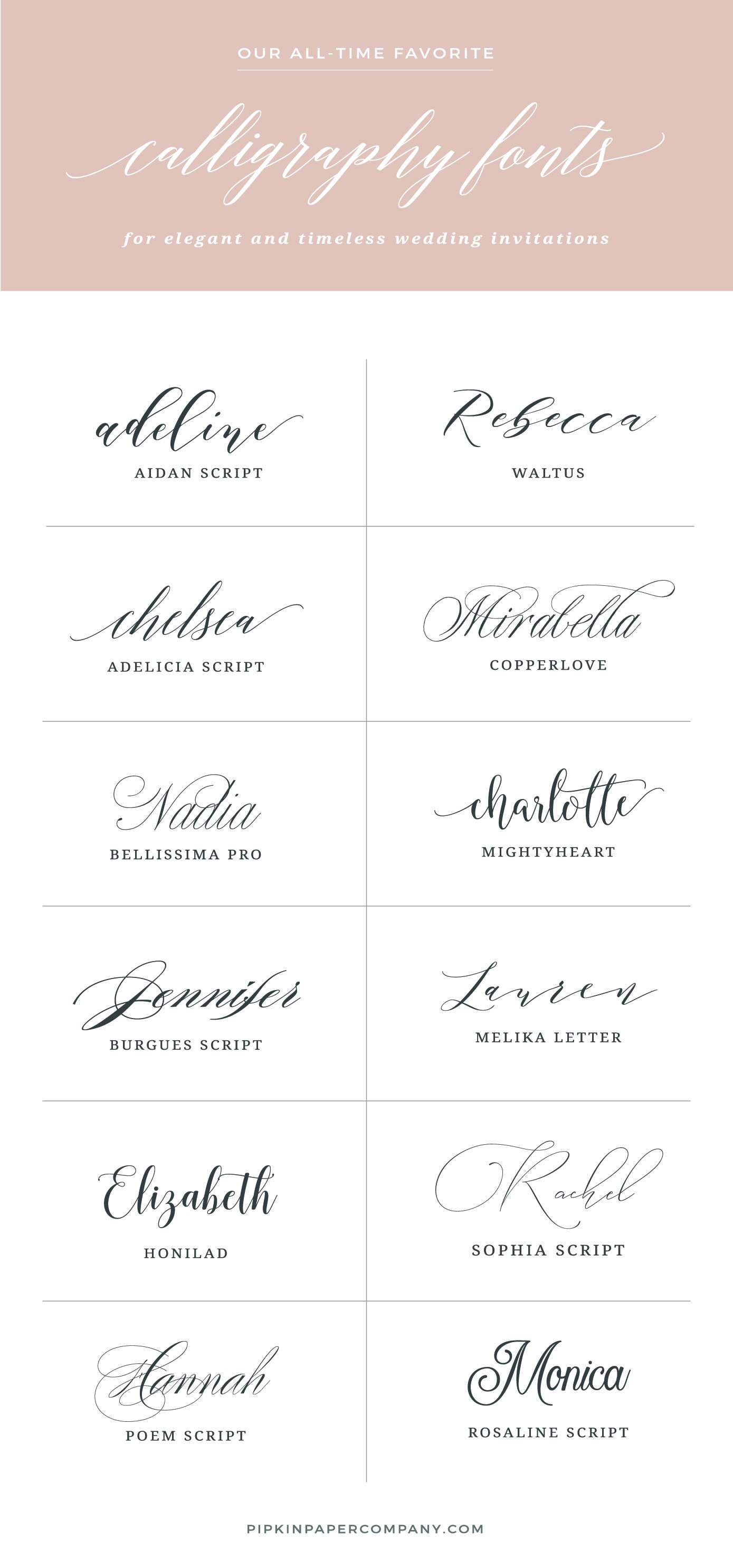 THE BEST FONTS FOR WEDDING INVITATIONS  Pipkin Paper Company