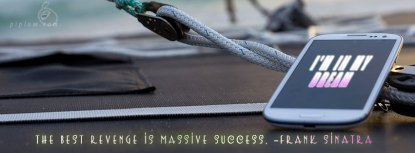 Motivational Quote. Smartphone on the yacht.