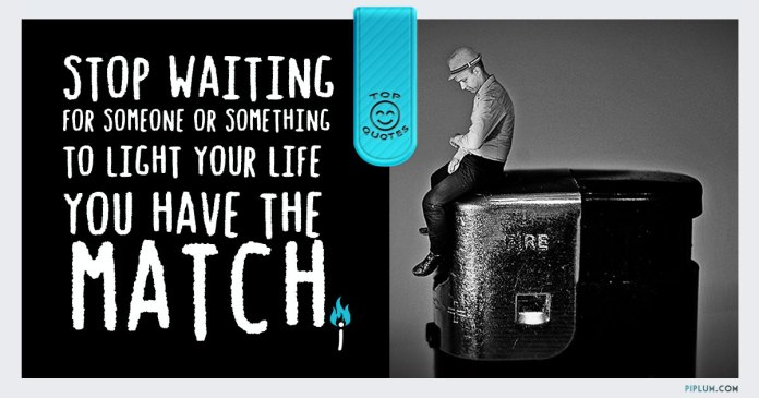 Man sitting on lighter and waiting for somebody to light his life. Nobody will help.