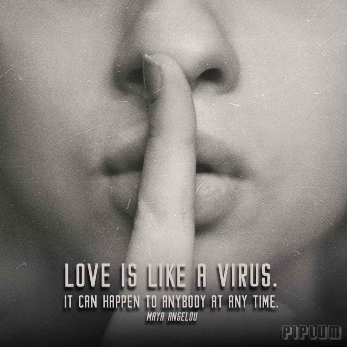 Love quote. Woman with a finger to lips saying be quiet.