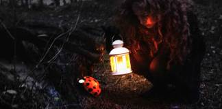 Redhead girl found gigantic ladybug in the magical forest. Motivational quote.