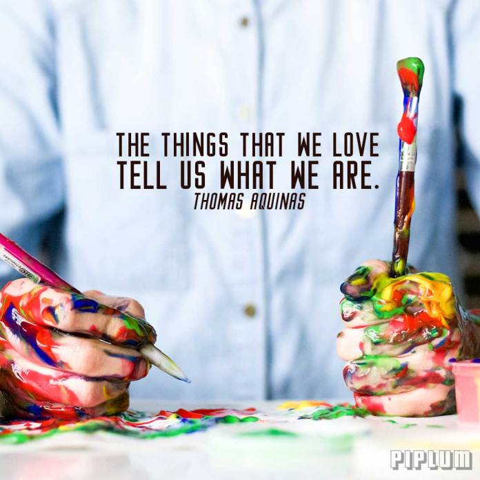 Love quotes. Man with painted hands enjoying his life.