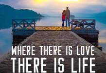 Love quote. Couple in the sunset looking to their future.
