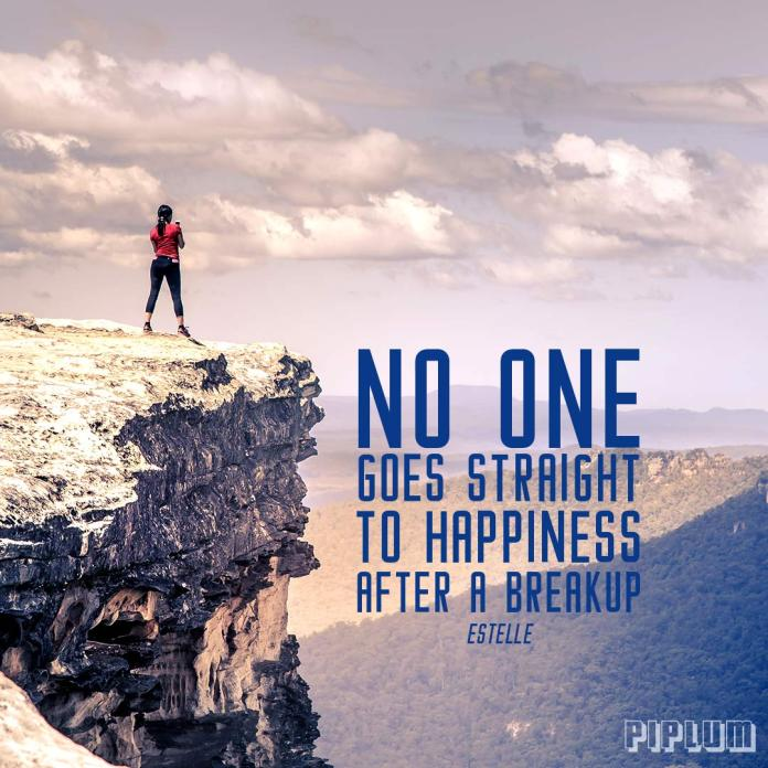 Break up quote. Women standing on the edge on the rock and looking to the canyon.
