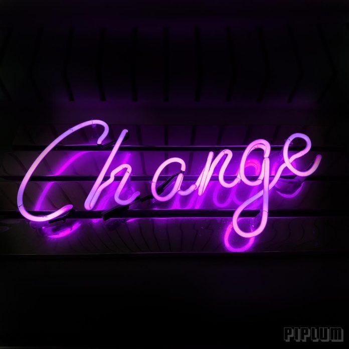 Life quote. Illuminated sign. Purple