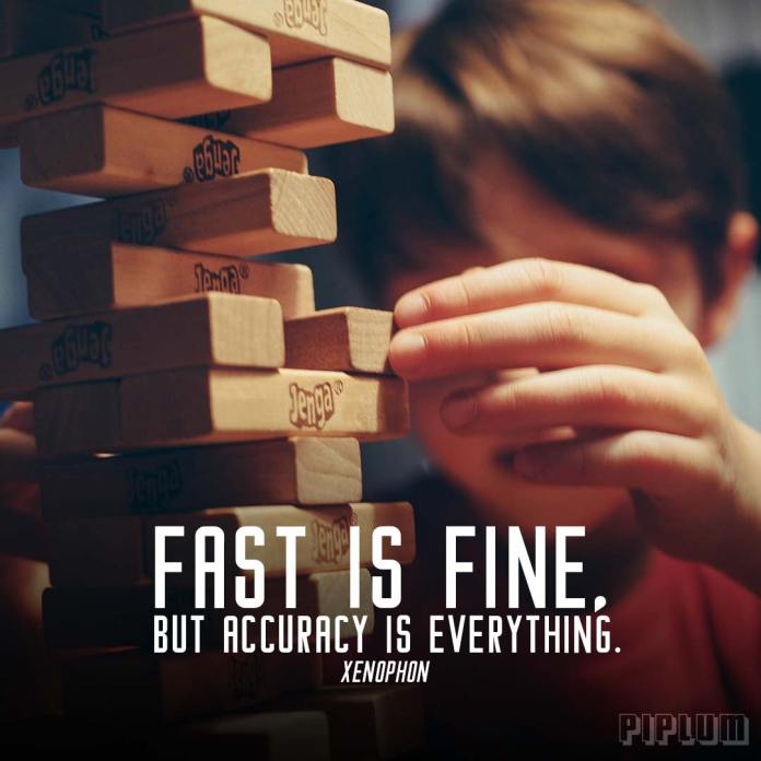 Life quote. A boy playing with jenga bricks.