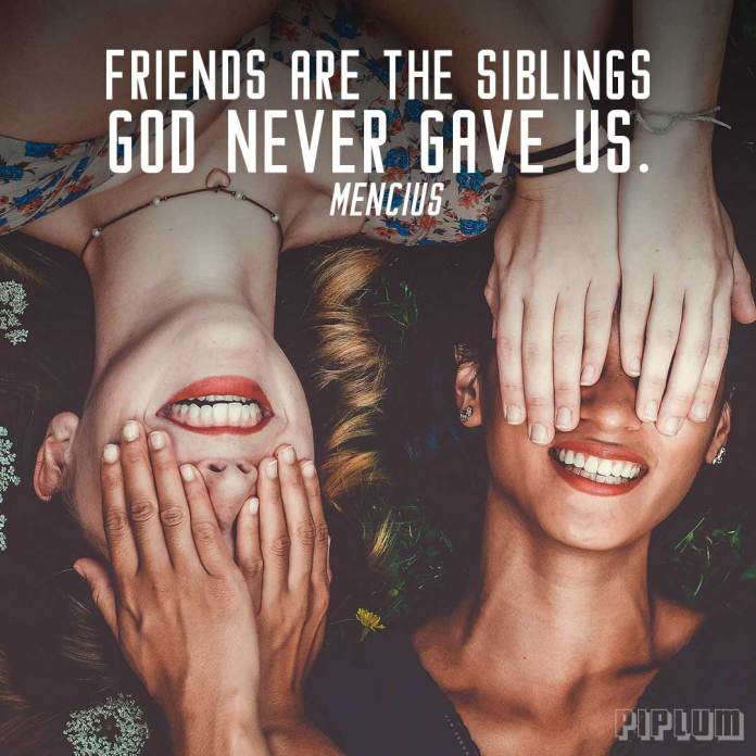 Friendship Quote. 2 girls covered each other faces with hands. Smilling and showing happiness.