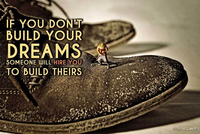 Motivational Quote. Man cleaning his boss shoes. Surreal miniature photography.