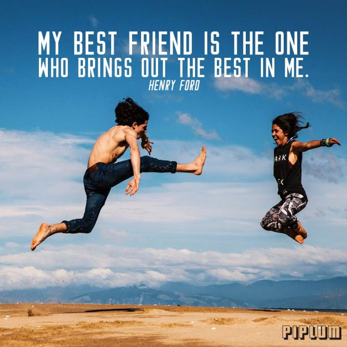 Friendship quote. Boy and a girl jumps into the air on the top of the mountain.