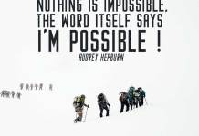 Inspirational Quotes. Large group of people going on the snow, climbing to the icy mountain.