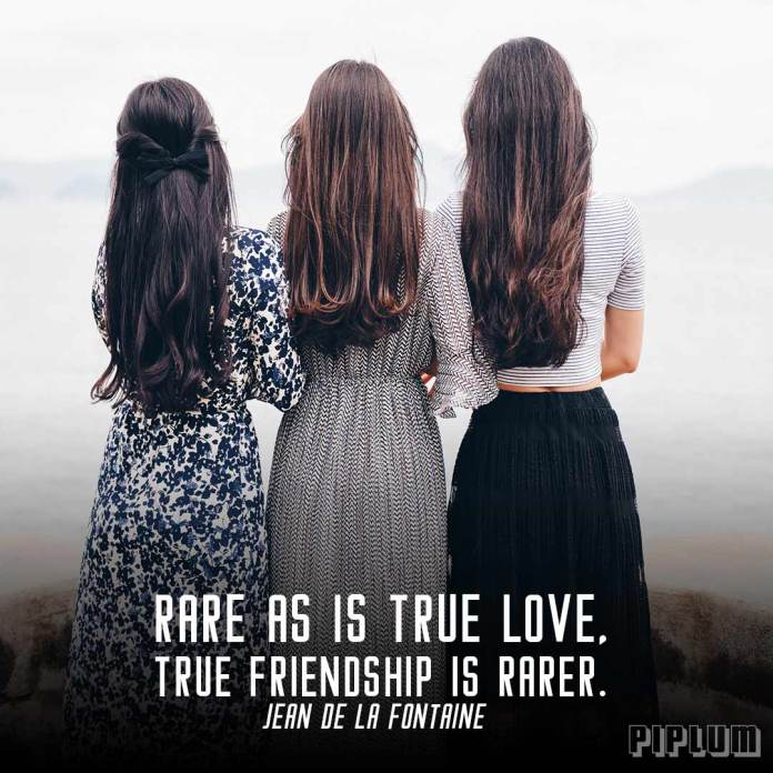 Friendship Quote. 3 girlfriends with long hair and long dresses standing and holding each other.