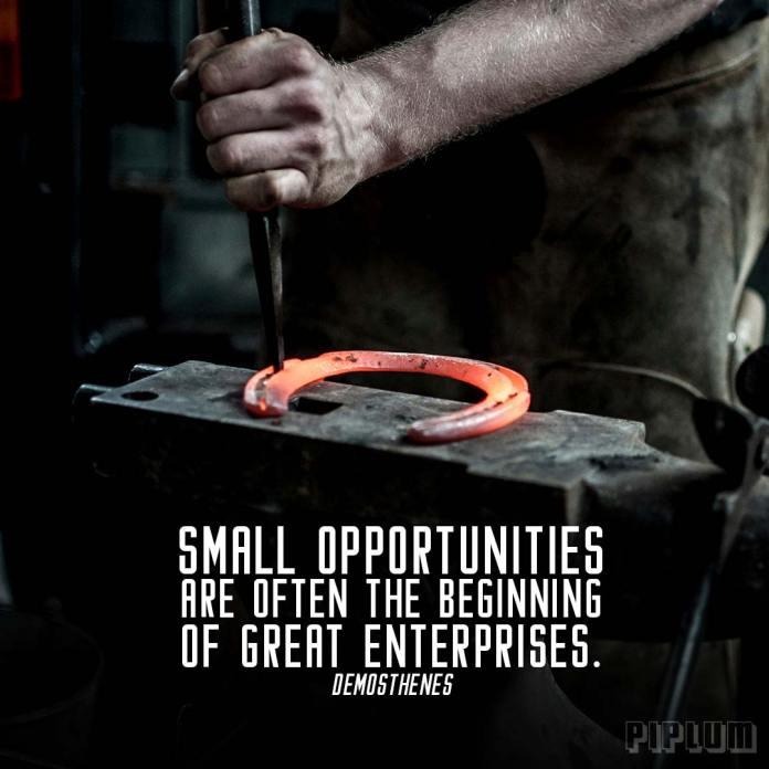 Life quote. The blacksmith produces a horseshoe