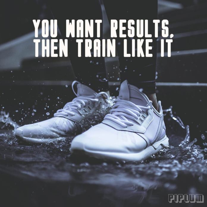 Workout quote. sport sneakers in the water splash.