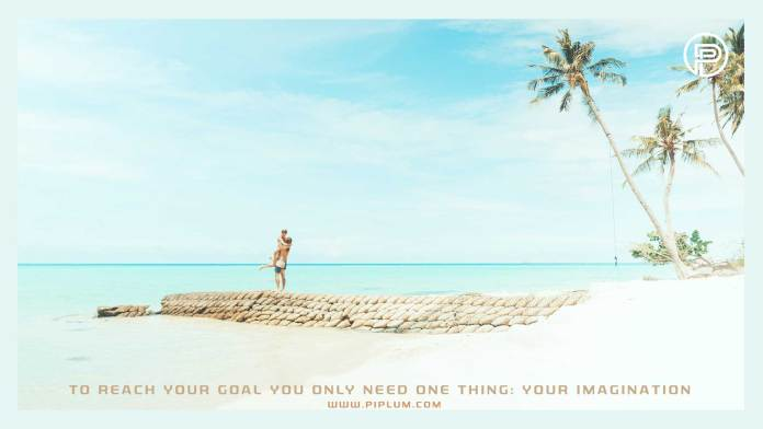 To-reach-your-goal-you-only-need-one-thing-your-imagination-Motivational-quote-beach-couple-palms-blue-sky-paradise