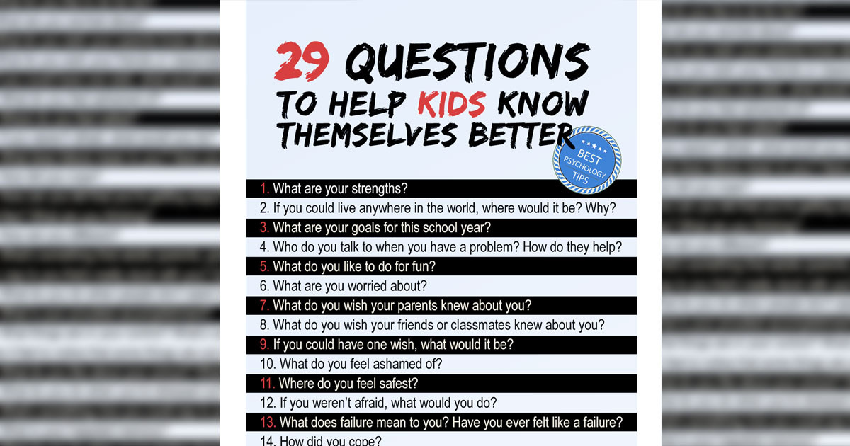 29 Questions to Help kids Know Themselves Better. [Educational Poster]