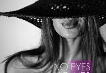 No eyes - no lies. Quote about life. Women with covered eyes in the background.