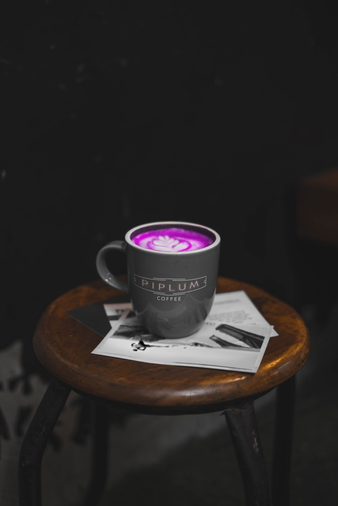 a cup of purple coffe