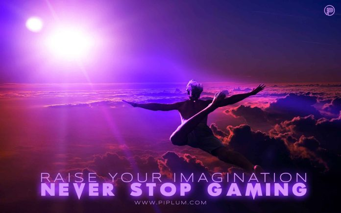 Raise-your-imagination-Never-stop-gaming-Virtual-reality-quote-man-flying-above-the-clouds