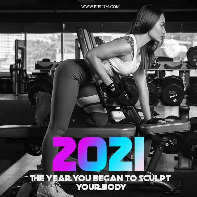 Shape your body and stop bragging. Motivational fitness quote to be active in 2021.