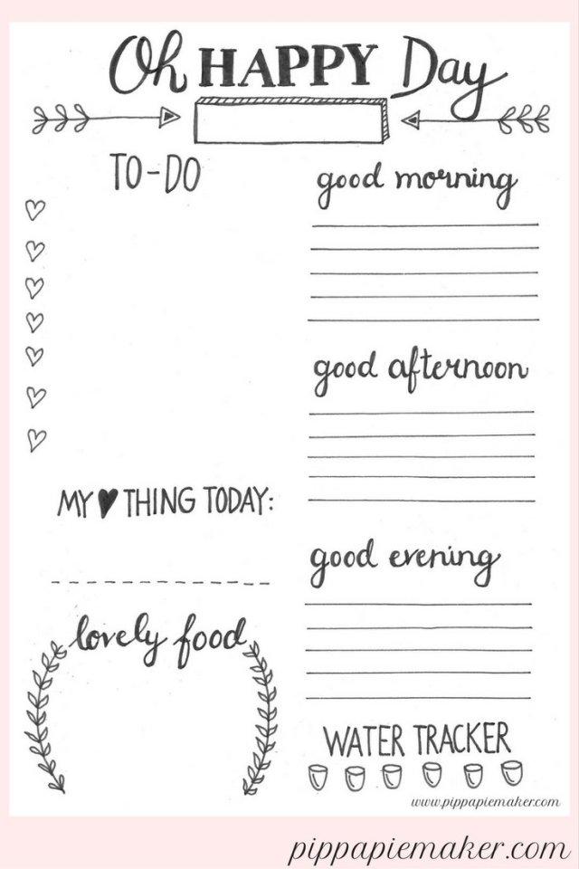 Ein flexibler Tagesplaner / daily planner zum kostenlosen download mit to-do Liste, Terminkalender, Speiseplan und Wasser Tracker!