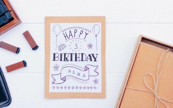 Hand Lettering Geburtstagskarte