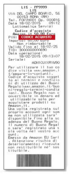 ricevuta codice acquisto amazon