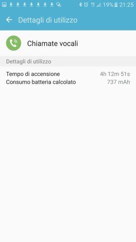 Samsung Galaxy S7 consumo chiamate vocali