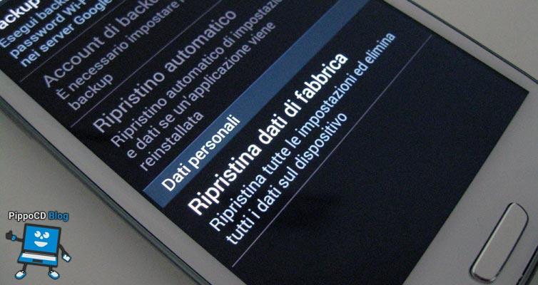 come resettare Android