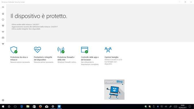 Windows 10 Creator Update Defender Security Center