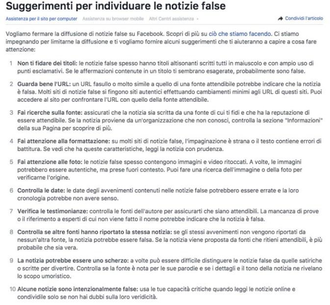 Notizie false facebook