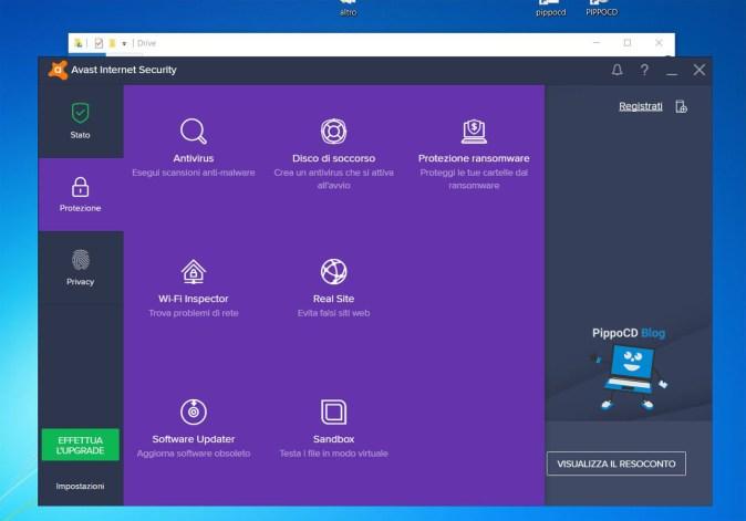Avast Internet Security interfaccia