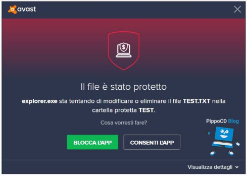 Avast Internet Security file protetto