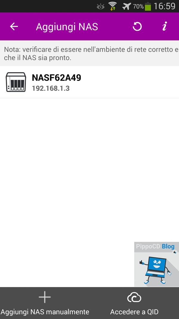 QNAP App aggiungi NAS