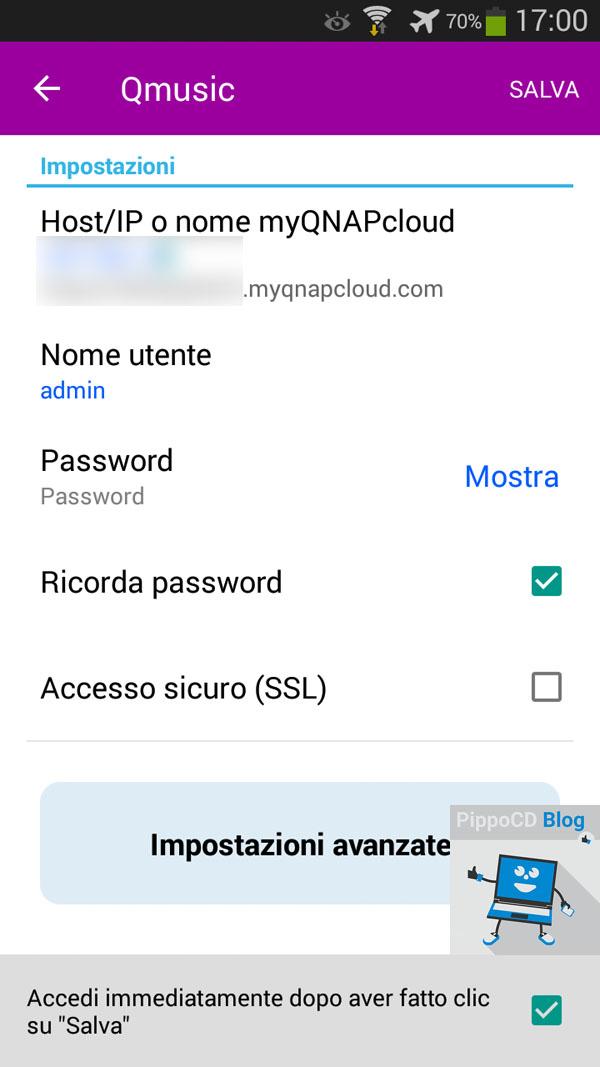 QNAP App impostazioni accesso NAS