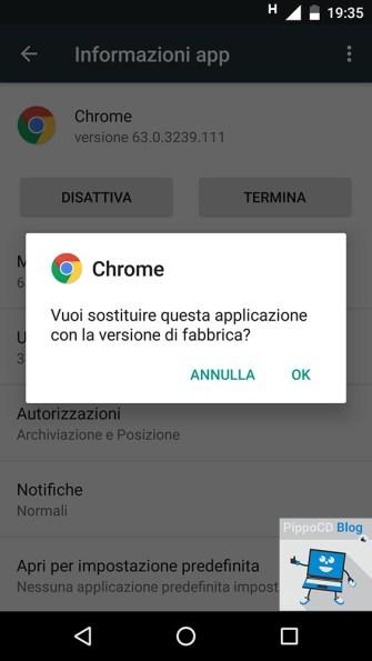 android disinstalla aggiornamenti