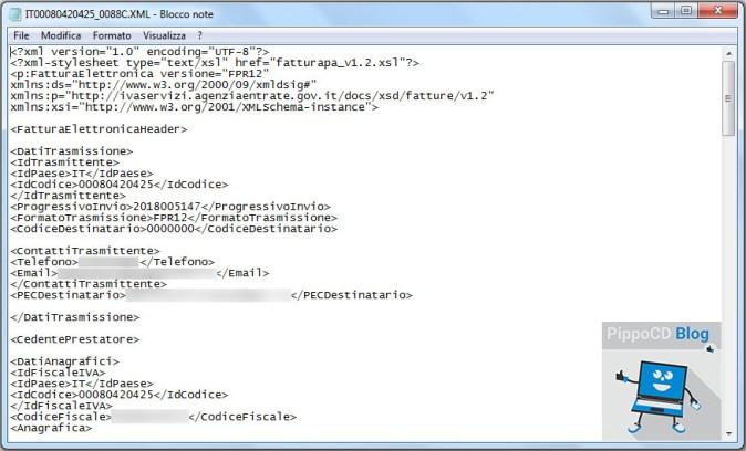Fattura elettronica file xml