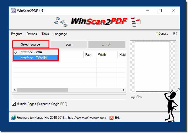 WinScan2PDF selezione sorgente