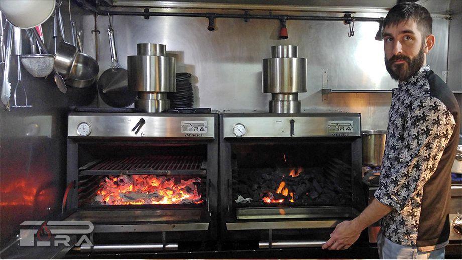 restaurante arcano - horno brasa pira 48 lux inox