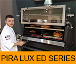 Pira Charcoal Oven 120 ED with food inside and a xef cooking