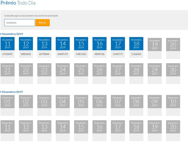Resultado Prêmio Todo Dia Tele Sena de Natal 18-11-2019