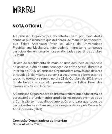 Nota oficial do InterFau