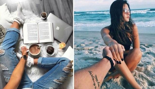 uma foto de praia, café e livro