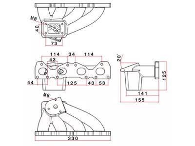 Manifold for Turbo conversion Saxo, 106, 206, engine TU5 1