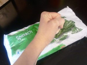 Chopping Frozen Spinach