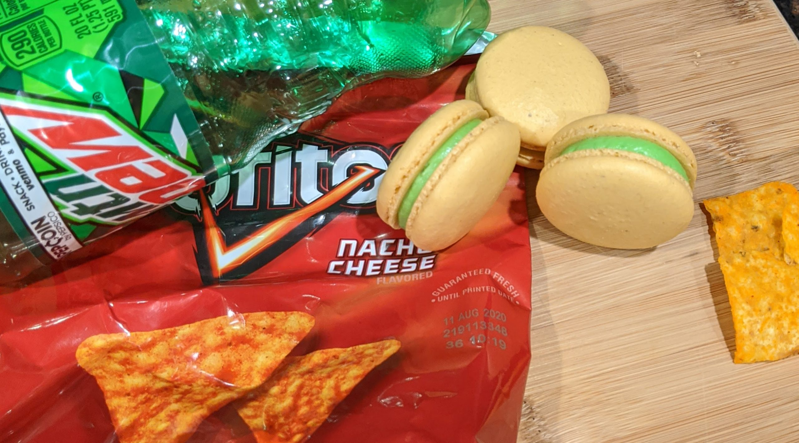 Doritos and Mountain Dew Macarons
