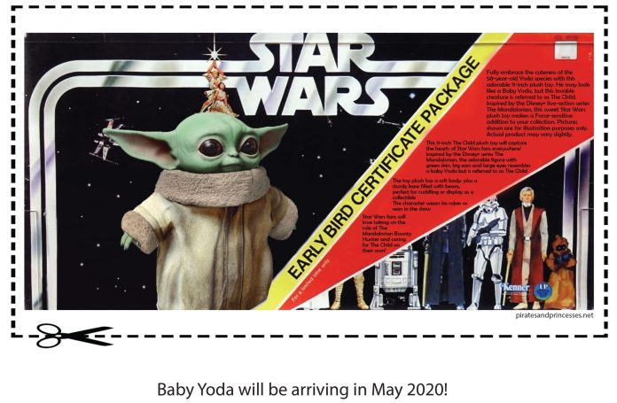 "Baby Yoda is finally getting an official plushie and a Funko Pop Vinyl... but they won't be shipped in time for Christmas. Both items are not due to hit store shelves until May 2020.  Never worry, PNP has you covered!  You can pre-order them and print out this Kenner style ""Early Bird"" card to give this Christmas! [Download PDF] or Click on the image below to enlarge."