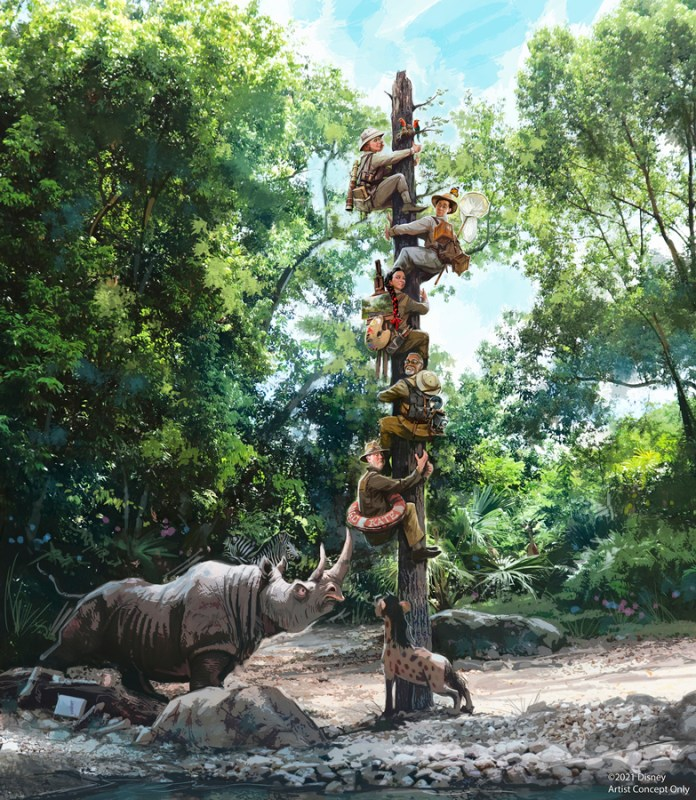 Jungle Cruise Concept Art with 5 explorers on a wooden tree with a rhino and hyena under them